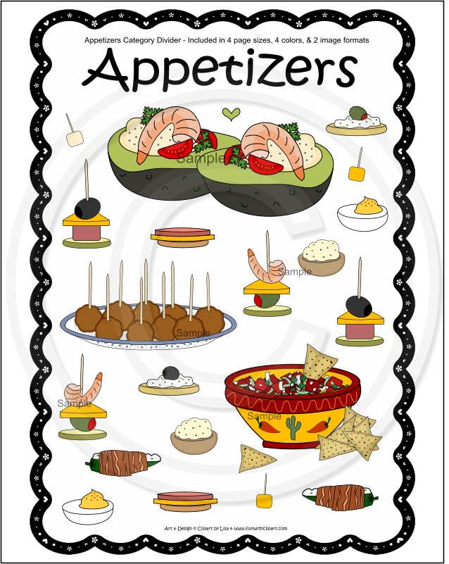 Cookies Appetizers Cookbook Category Divider Page