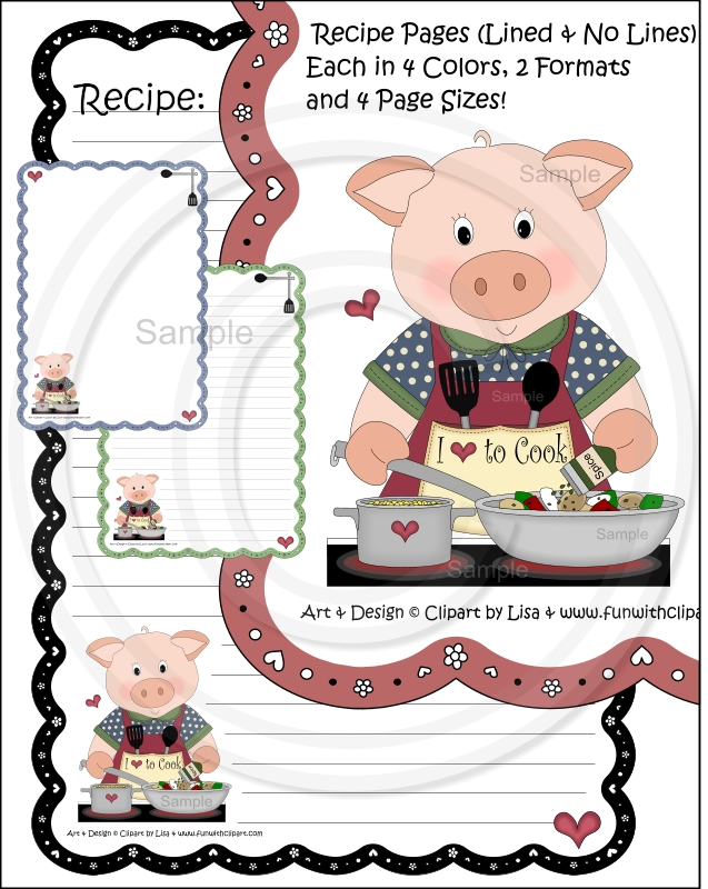 Drinks Cookbook Category Divider Page Pig Cooking Recipe